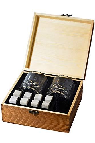 Silver Mountain Whiskey Stones Gift Set - 2 Crystal Glasses + 8 Whiskey Stones WHITE STONES (NOT GREY!) + Velvet Bag in Elegant Wooden Box - Perfect Gift for Birthday, - Silver Whiskey