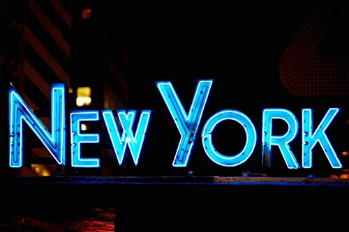 (NYPD Manhattan Midtown Times Square Precinct New York City Neon Sign Photo Art Print Mural Giant Poster 54x36 inch)