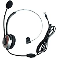 GoodQbuy® Hands-free Call Center Headset Headphones Ear Phone Desk Telephone with Comfort Fit Headband Noice Cancelling - Silver