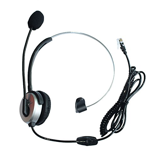 GoodQbuy® Hands-free Call Center Headset Headphones Ear Phone Desk Telephone with Comfort Fit Headband Noice Cancelling - Silver by GoodQbuy