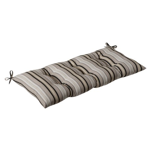 Pillow Perfect Indoor/Outdoor Getaway Stripe Black Swing/Bench Cushion -