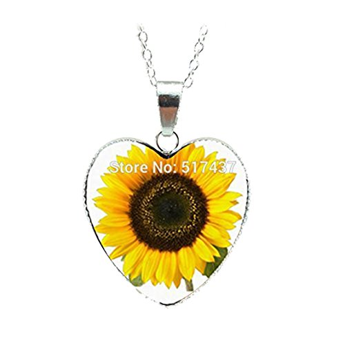 Sunflower Heart Necklace Yellow Sunflower Pendant Glass Picture Jewelry