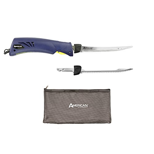 American Classic Knife (American Angler Classic Heavy Duty Electric Fillet Knife Precision Kit – 110 Volt High Performance Motorized Handset with 8-Inch Stainless Steel Curved Blade and Shark Blade, 31454DS)