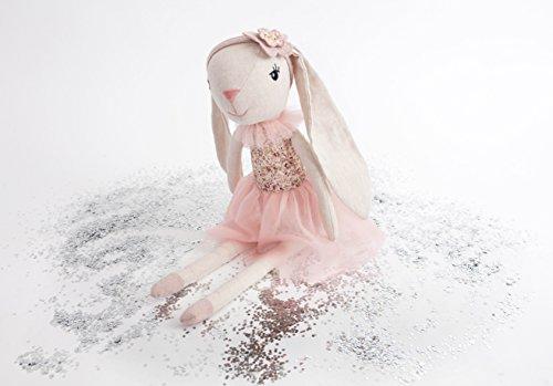 MON AMI Floral Bunny Ballerina Designer Plush Doll, Pink, 18