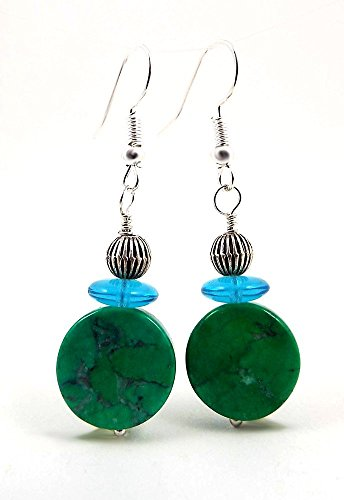 Green and Teal Earrings Long Dangle Magnesite Gemstone and ()