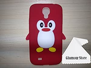 Cute Cartoon Style 3D Penguinl Pattern Soft Silicone Gel Case Skin Cover Protective For Samsung Galaxy S4 I9500 + Free Cleaning Cloth As a Gift and Free Screen Protector (Red)