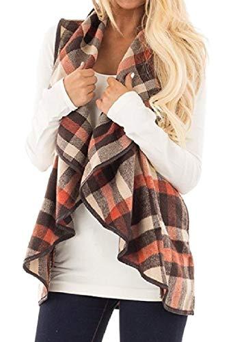 効果的ホップ説教Romancly 女性ノースリーブオープンフロントポケットコントラストラペルプラッドベストコート