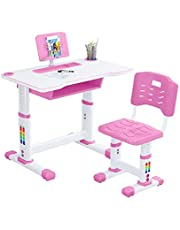 Study Desk for Kids, Height Adjustable Children Study Desk Table &Chair Drawing Set Bookstand for Home Bedroom (Pink)