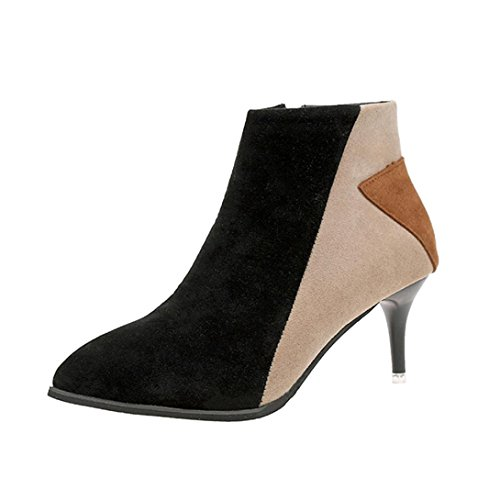 TOPUNDER Ladies Female Suede Faux Boots Ankle Zipper Martin Pointed Casual Shoes by by TOPUNDER