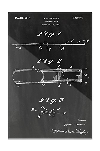 Blackboard Patent - Woodwind Reed (24x36 Acrylic Wall Art Gallery Quality) (Hanging Lantern Reed)