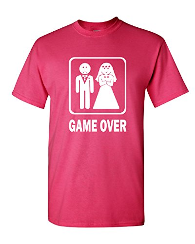 Game Over Funny T-Shirt Groom And Bride Wedding Tee Shirt Hot Pink XL by Tee Hunt