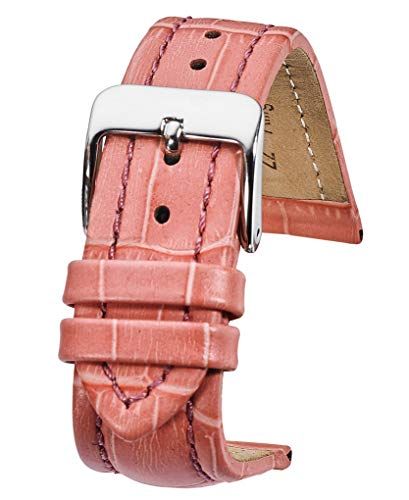 Genuine Padded Leather Watch Band in Alligator Grain Finish - Pink -22mm