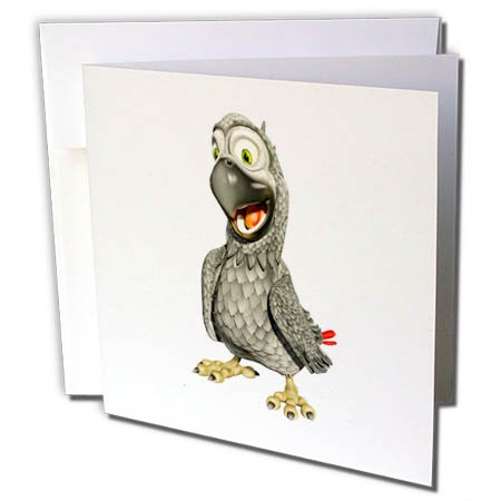 3dRose Boehm Graphics Cartoon - African Grey Cartoon Parrot with Happy Pose - 1 Greeting Card with Envelope (gc_282365_5)