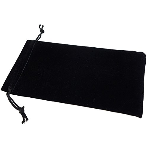 Pack of 12 Black Color Soft Velvet Pouches w Drawstrings for Jewelry Gift Packaging, 10x16cm