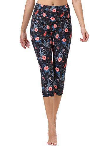 Mint Lilac Women's High Waist Printed Yoga Pants Tummy Control Workout Capri Leggings Large