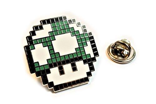 Super Mario World GREEN MUSHROOM 1UP Pixel SNES Hat Jacket Tie Tack Lapel Pin
