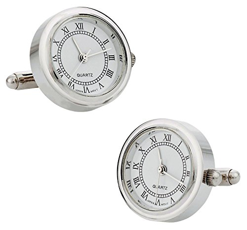 Cuff-Daddy Round Silver Working Functional Watch Cufflinks with Presentation Box