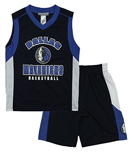 Dallas Mavericks NBA Little Boys Shooting Shirt and Shorts Set - Navy (XS (4/5)) (Nba Shooting Shirt)