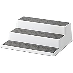 Copco 2555-0189 Non-Skid 3-Tier Spice Pantry Kitchen Cabinet Organizer, 10-Inch, White/Gray