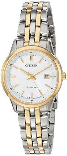 Drive Bracelet Two Eco Tone (Citizen Women's 'Eco-Drive Bracelet' Quartz Stainless Steel Watch, Color:Two Tone (Model: EW2404-57A))