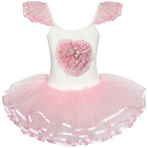 LF21 Girls Dress Cute Tutu Dancing Pink Heart Party Size 2-3