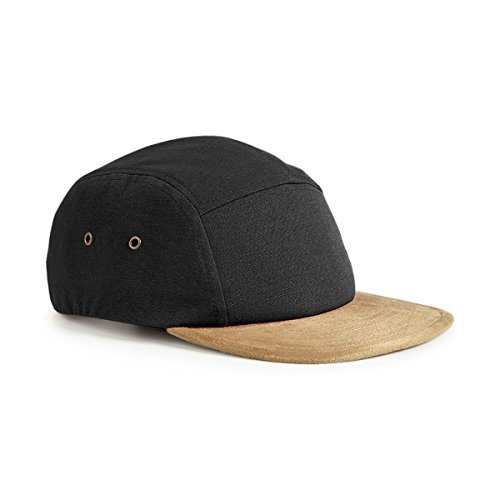 Beechfield Suede Peak 5 Panel Cap - Black