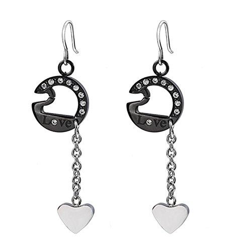 Micrkrowen Stylish Love Heart-Shaped Inlaid Zircon Eardrop Titanium Steel Earrings