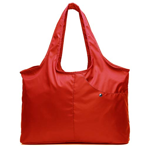 (Shoulder Bag for Women, Waterproof Shopping Lightweight Work Purse and Handbag Travel Tote Oxford Nylon Large Capacity Hobo (8045_Bright Red))