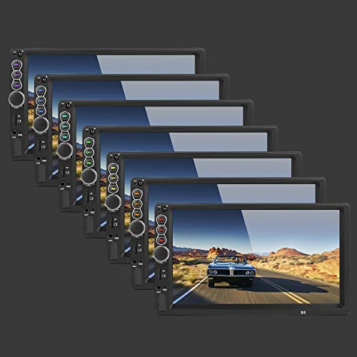 2 DIN 7 Pulgadas de Pantalla t/áctil capacitiva Auto Stereo Autoradio BT con 8 LED View Camera