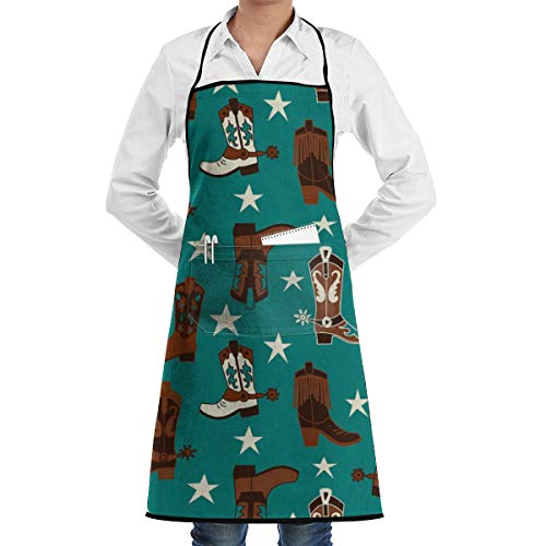 NiYoung Professional Kitchen Apron- Beautiful Colourful Cotton Teal Cowboy Boots -Woman Aprons Comfortable Perfect for Cooking Guide