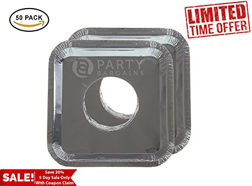 Party Bargains Square Burner Bibs | Disposable Aluminum Foil Gas Stove Protector Burner Bib Liners Cover - 8.5 Inch | Pack of 50.