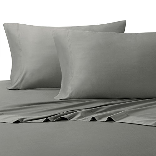 Solid Gray Split King: Adjustable King Bed Size Sheets, 5PC Bed Sheet Set,  100% Cotton, 300 Thread Count, Sateen Solid, Deep Pocket, By Royal Hotel
