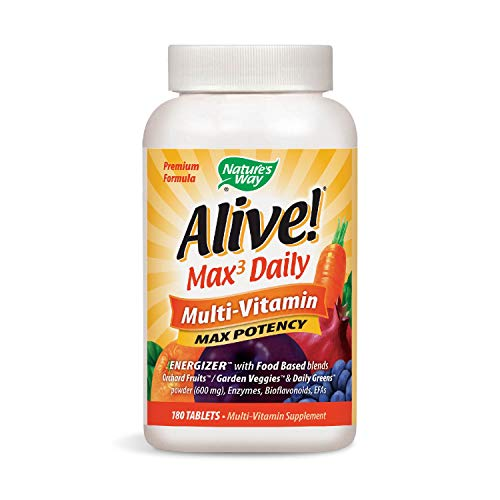 Nature's Way Alive! Max3 Daily Adult Multivitamin, Food-Based Blends (1,060mg per serving) and Antioxidants, 180 Tablets