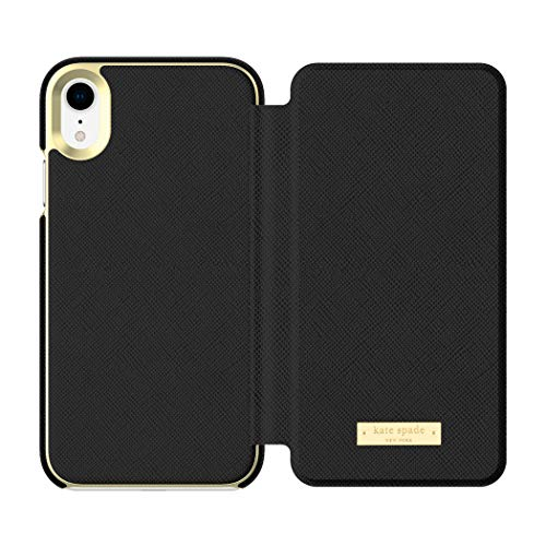 Kate Spade New York Phone Case | for Apple iPhone XR | Protective Phone Cases with Folio Design and Drop Protection - Saffiano Black/Gold Logo Plate