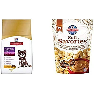 Hill'S Science Diet Sensitive Stomach & Skin Dog Food (15 Pound Bag) And Hill'S Science Diet Soft Savories With Peanut Butter & Banana Dog Treats (8 Ounce Bag)