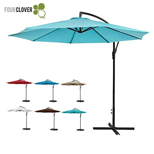 (FOUR CLOVER 10 Ft Patio Umbrella Offset Hanging Umbrella Outdoor Market Umbrella Garden Umbrella, 250g/sqm Polyester, with Cross Base and Crank (Turquoise))