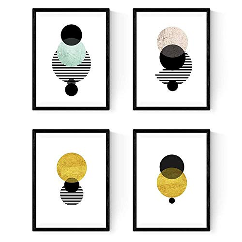 (Set of 4 Prints, Eclipse. Moons and Suns. Nordic Style Print. 250 Gr A4 Size.)
