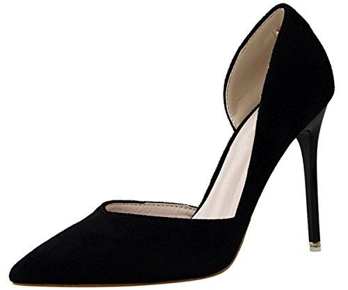 Stiletto Punta Donna D'orsay Elegante Vestito Tacchi Scarpe Alti Con Tacco Nero qRPUxP8