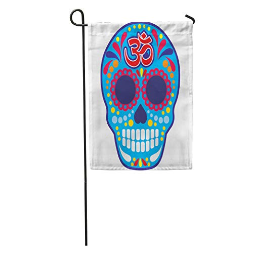 Semtomn Garden Flag Aum Sugar Skull Om Vintage Bone Buddha Death Halloween Harmony Home Yard House Decor Barnner Outdoor Stand 28x40 Inches Flag -