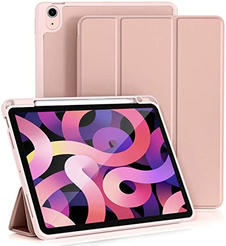 Vobafe Case for iPad 10.9 Inch Case (Air 4th Generation 2020 Case), Trifold Stand Protective Case Cover with Pencil Holder for iPad Air 10.9″, [Support Pencil 2 Charging][Auto Wake/Sleep]-Rose Gold