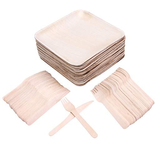 50 8 Disposable Square Palm Leaf Plates + 100 Cutlery (50 Forks, 50 Knives) - Better Than Bamboo or Wood Plates. Heavy Duty, 100% Compostable & Biodegradable Eco Friendly Party Plates (8 inch)