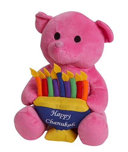 Plush Hanukkah Teddy Bear With Menorah, Pink (Pink Menorah)