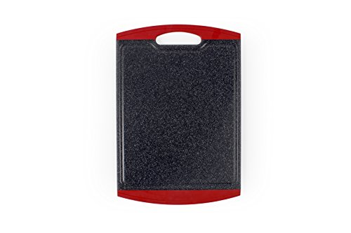 Neoflam 14' Plastic Cutting Board in Black Marble and Red - BPA Free, Non Slip,...