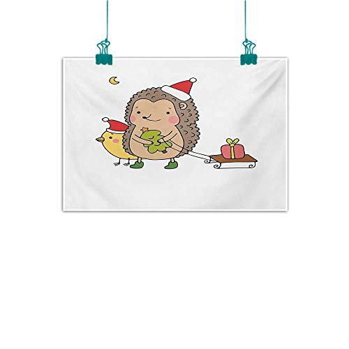 """Warm Family Hedgehog Modern Frameless Painting Cartoon Hedgehog with Bird and a Christmas Tree Pulling Sled Holiday Themed Image Bedroom Bedside Painting 24"""" Wx16 L Multicolor"""