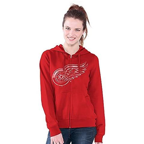 NHL Detroit Red Wings Women's Wildcat Full Zip Hoodie, X-Large, Red - Cat Womens Zip Hoodie