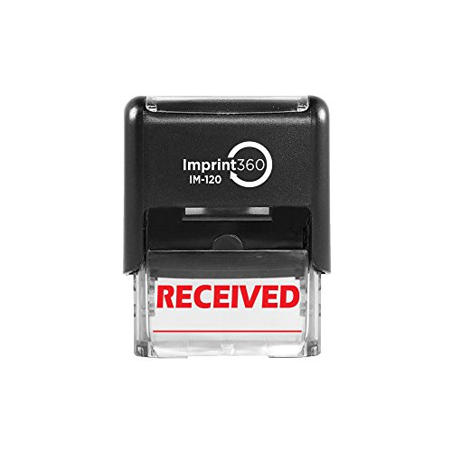 Imprint 360 AS-IMP1035 - RECEIVED w/Signature Line, Heavy Duty Commerical Quality Self-Inking Rubber Stamp, Red Ink, 9/16' x 1-1/2' Impression Size, Laser Engraved for Clean, Precise Imprints