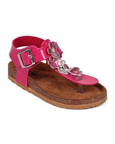 Big Buckle Sandals (BETANI EG32 Patent Flower Buckle T-Strap Footbed Sandal (Little Girl/Big Girl) - Fuchsia (Size: Big Kid 4))