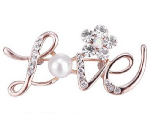 New Gold Cute Luxury Love Letter Pearl Crystal Brooch Pin Unique Cheap Jewelry