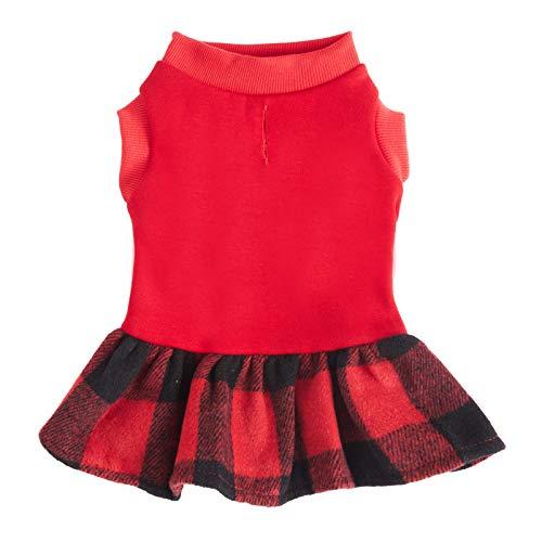 ZIFEIPET Plaid Dog Dress Hoodie Sweatshirt Pet Sweater Cloth Cute Red Warm Fleece Hoodie for Cats Small to Medium Dogs
