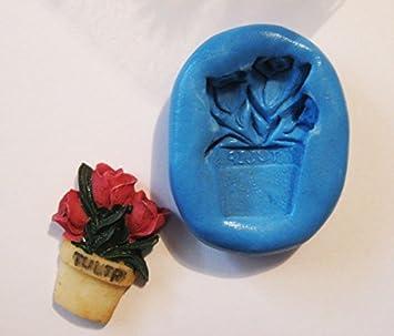 Tulipanes flores de maceta con molde de silicona flexible de calidad alimentaria para arcilla polimérica, resina, cera, comida en miniatura, dulces, yeso: ...